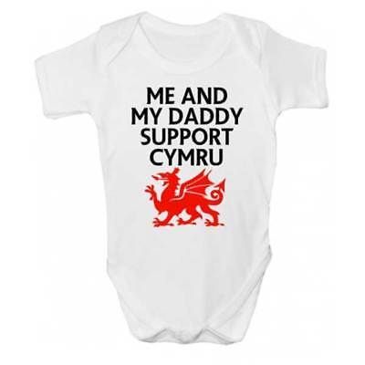 Me And Daddy Support Cymru Baby Grow - Rugby Babies Clothing - Daddy And Me Clothing