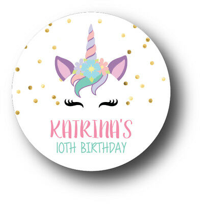 30 Unicorn Face Personalized Birthday Party Favors Treat Bag Stickers
