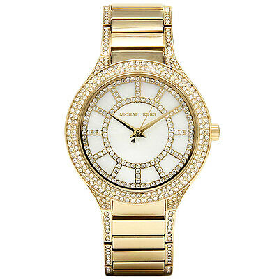 Michael Kors MK3312 Gold Tone Kerry Mother of Pearl Crystal Accent Wrist Watch