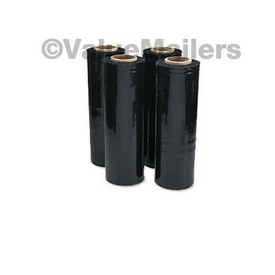 4 Rolls 80 Gauge 18 X 1500 Black Pallet Hand Plastic Stretch Film Quality Wrap