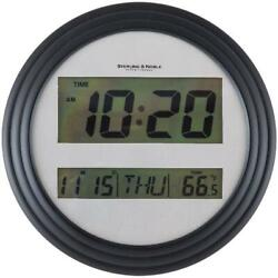 Digital Wall Clock Black Day Date Temperature Display Snooze Alarm Function