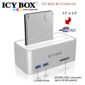 ICY BOX IB-111HCr-U3 Hard didk docking station for SATA HDDs and
