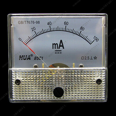 Dc 100ma Analog Ammeter Panel Pointer Amp Current Meter Gauge 85c1 0-100ma Dc