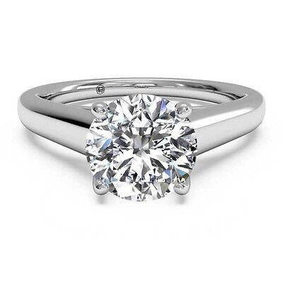 2 Carat Round Cut D VS2 Lab Diamond Solitaire Engagement Ring 14k White Gold