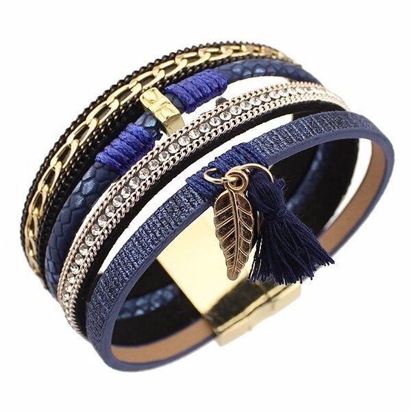 Tassel Leaf Faux Leather Strand Bracelet