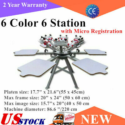 Us 6 Color 6 Station Silk Screen Printing Press Machine With Micro Registration