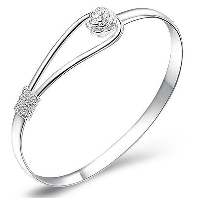 Fashion Women Bracelet 925 Sterling Silver Plated Bangle Hand Chain Jewelry