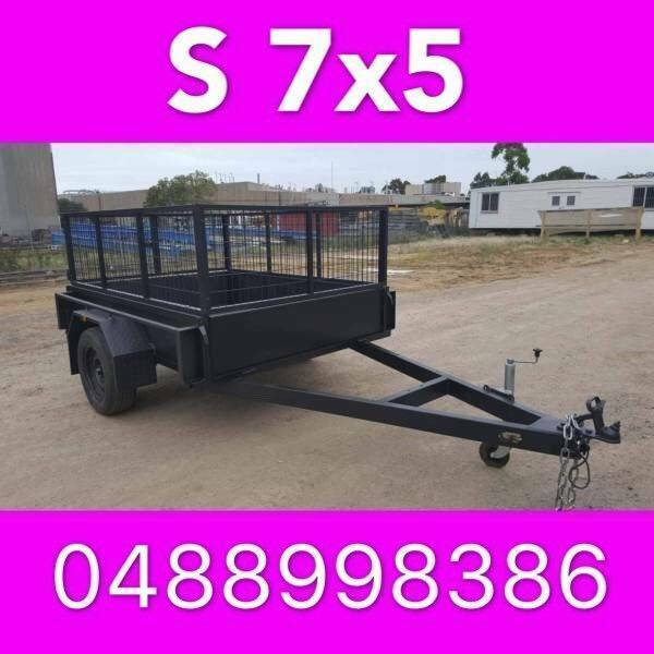 7x5 Box Trailer With Mesh Cage Heavy Duty Full Rhs Local