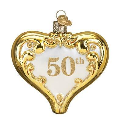 50TH ANNIVERSARY GOLD COLORED HEART OLD WORLD CHRISTMAS GLASS ORNAMENT NWT (World Hearts)