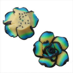 30pcs-110311-Green-Flowers-Rose-Charms-FIMO-Polymer-Clay-Beads-20mm-FREE-SHIP