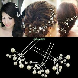 5 Fan Shaped Bridal Pearl Hair Pins Clips - New