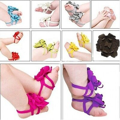 Baby Toddler Infant Girls Barefoot Flower Sock Sandals Toe Blooms Shoes Cotton (Barefoot Sock Sandals Baby)