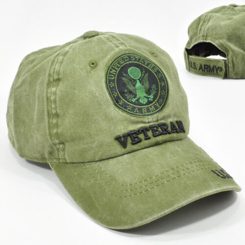 US Army Veteran Distressed Baseball Cap Olive Green Low Profile 100% Cotton Hat