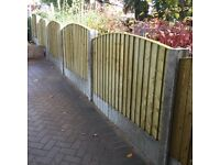🔨🌟Excellent Quality Tanalised Close Board Bow Top Wooden Fence Panels