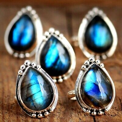 Sterling Silver Labradorite Ring for Women Iridescent Gemstone Boho Statement...