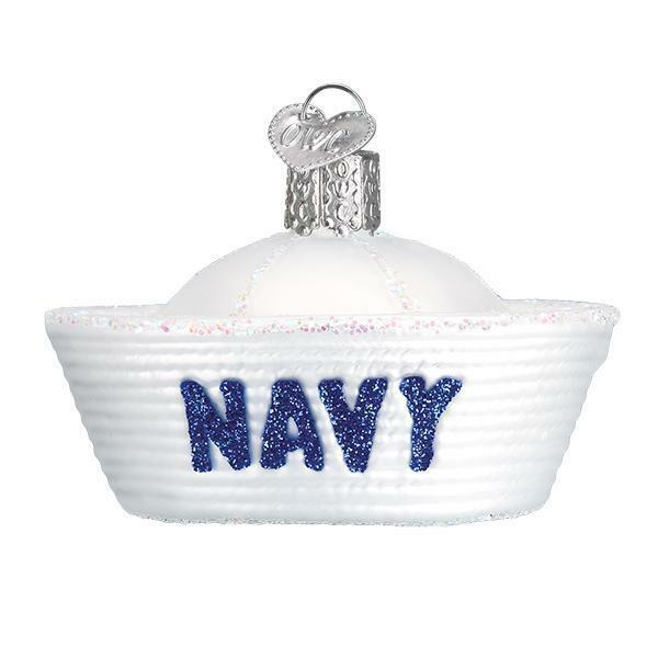 NAVY CAP OLD WORLD CHRISTMAS GLASS PATRIOTIC USA MILITARY ORNAMENT NWT 32377