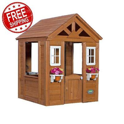 Wooden Play House Backyard Discovery Timberlake Cedar Kids Cottage Outdoor Fun