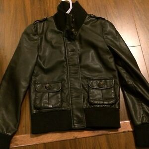 Worn once! Leather type bomber jacket size 14