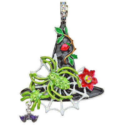 Kirks Folly Halloween Spider Queen Witch Hat Magnetic Enhancer Silvertone Enamel