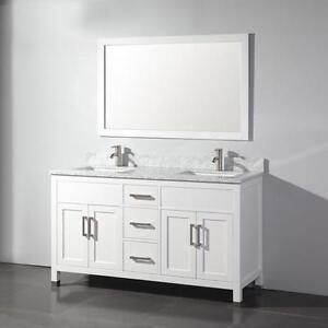 "60"" White Traditional Bathroom Vanity- COMPLETE SET"