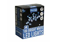 100 Static LED Christmas Lights (choice of 3 colour options - Bright White, Ice Blue or Red)