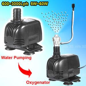 Submersible aquarium fish tank pond water air pump 600l for Aquarium 600l