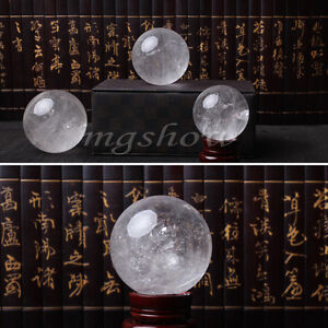 Natural Clear Quartz Crystal Rainbow Sphere Ball Healing Gemstone 35mm + Stand