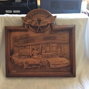 Wooden Hanging of 50th -Anniversary of Corvette car