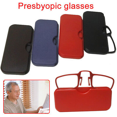 Mini Clip Nose Reading Glasses Optics Pocket Wallet Unisex Ultra Thin With Case