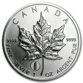2012 (LEANING TOUR PISA PRIVE) 1oz Canadian Maple Leaf Coin - 999.0 Solid Silver -- Genuine --