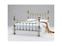**REDUCED NEW** Charlotte Antique Brass 4ft 6 Double Bed Inc. Double Memory Foam Orthopedic Mattress