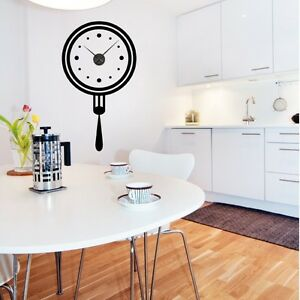 sticker mural horloge g ante fourchette assiette cuisine m canisme aiguilles ebay. Black Bedroom Furniture Sets. Home Design Ideas