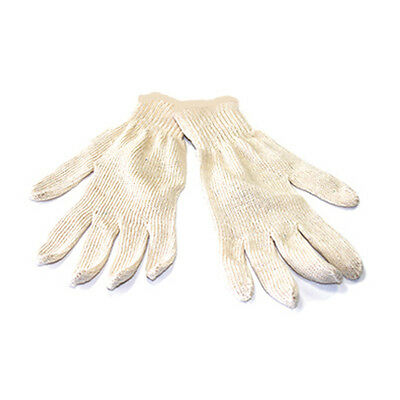 12 Pairs Natural White Cotton String Knit Gloves - Size Large