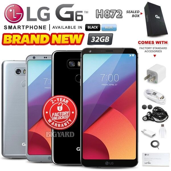 Android Phone - New & Sealed Factory Unlocked LG G6 H872 Black Blue 32GB Android Smartphone