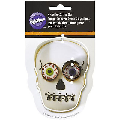 Skull with Eye Halloween 2 pc Metal Cookie Cutter Set from Wilton 2013 NEW