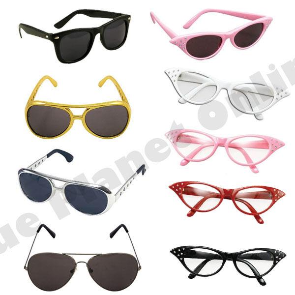 Red Glasses Grease Pink Ladies 1950S Rock N Roll Fancy Dress