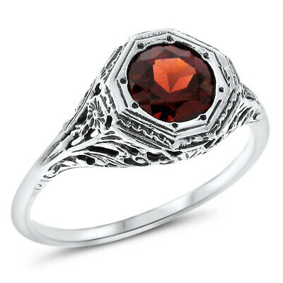 GENUINE GARNET ANTIQUE ART DECO DESIGN 925 STERLING SILVER RING SIZE 8,  #558 Design Garnet Ring