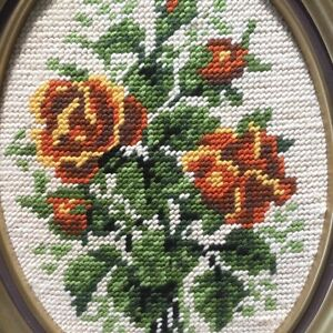 Cross stitch flower in frames West Island Greater Montréal image 2