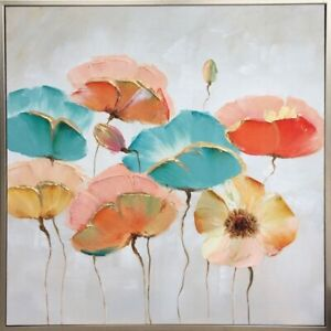 Poppy Gold Detail Framed Floral Painting Print Canvas Flower Wall Art Camp Hill Brisbane South East Preview