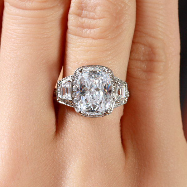 GIA Certified Diamond Engagement Ring Natural Cushion Cut 4.22 carat Platinum 3