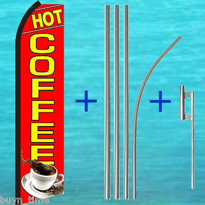 Hot Coffee Red Flutter Feather Flag 15 Tall Pole Mount Kit Swooper Bow Banner