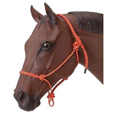 Tough-1 Poly Nylon Rope Tied Halter Horse Orange NEW Adjustable Snug Fit