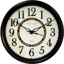 Better Homes & Gardens 20 inch Diameter Calendar Wall Clock Day of Week NEW