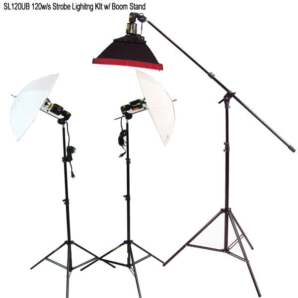 120w/s Strobe Flash Lighting Kit w/ Boom Arm Stand for Photo Video Light Studio