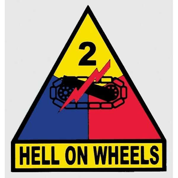 US ARMY 2ND ARMORED DIVISION HELL ON WHEELS STICKER - DECAL - MADE IN THE USA!!
