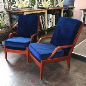 Pair Or Vintage Armchairs With Electric Blue Velvet Armchairs
