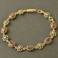 7.67 Inches,Deluxe 9K Yellow Gold Filled Red Ruby Women Flower