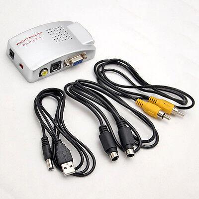 VGA zu Scart S-Video Konverter PC zu TV Cinch Beamer Adapter Kabel Umwandler Tv S-video
