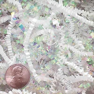 U Choose Size! WHITE & IRIDESCENT Gift Basket Shred Crinkle Paper Grass Filler - Iridescent Paper