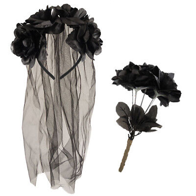 ZOMBIE CORPSE BRIDE VEIL HEADBAND & DEAD BLACK ROSES HALLOWEEN FANCY DRESS](Zombie Bride)